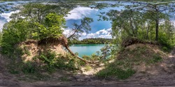 full seamless spherical hdri panorama 360 degrees angle view in pinery forest with clumsy tree roots on coast of huge green lake in equirectangular projection, ready VR AR virtual reality content