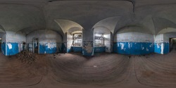 full seamless spherical hdri panorama 360 degrees angle view inside of abandon room in ruin building equirectangular projection with zenith and nadir, ready for VR virtual reality content