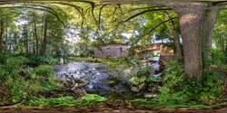 full seamless spherical hdri panorama 360  degrees angle view near abandoned water mill narrow fast river in sunny morning in equirectangular projection with zenith and nadir. VR AR content
