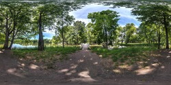 full seamless spherical hdri panorama 360 degrees  angle view near wooden bridge over small river in forest in equirectangular projection, VR AR content.