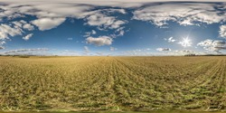 full seamless spherical hdri panorama 360 degrees angle view on among farming fields in summer day with awesome clouds in equirectangular projection, ready for VR AR virtual reality content