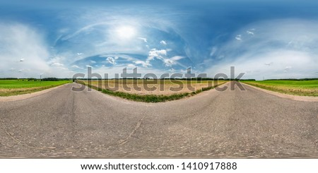 full seamless spherical hdri panorama 360 degrees angle view on asphalt road among fields in summer day with awesome clouds in equirectangular projection, ready for VR AR virtual reality content