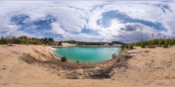 full seamless spherical hdri panorama 360 degrees angle view on limestone coast of huge green lake for sand extraction old mining with beautiful clouds in equirectangular projection, VR content