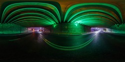 full seamless spherical hdri panorama 360 degrees angle view on no traffic highway inside tunnel under сoncrete bridge in light of green spotlight in equirectangular projection. VR  AR content