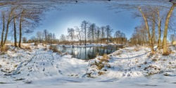 full seamless spherical panorama 360 by 180 degrees angle view near a narrow fast river in a winter sunny evening in equirectangular projection, skybox VR AR virtual reality content