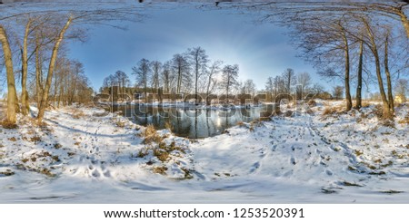 full seamless spherical panorama 360  degrees angle view near narrow fast river in a winter sunny evening. 360 panorama in equirectangular projection. VR AR virtual reality content