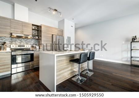 Full set for modern Canadian condominium in Montreal, interior.