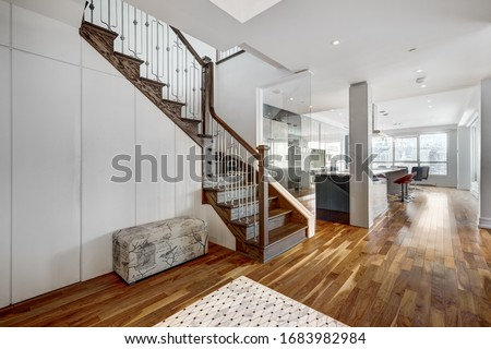 Full set of apartment penthouse in condominium in downtown Montreal Canada with winter city views