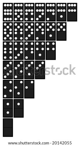 Full Set Of Dominoes Tiles In Original Color Of White Spots On ...