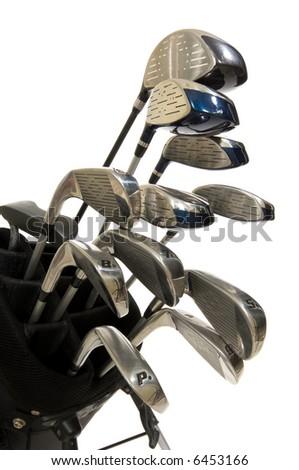 full Set of modern golf clubs on white background