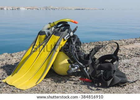 Full set of scuba diving equipment on the ground next to a tropical sea coast #384816910