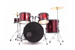 Full set red Drums in studio empty isolated on white bacground