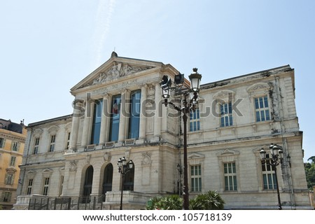 Full shot of the Palais de Justice in Nice, France.