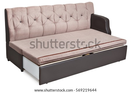Full-size folding sofa-bed light brown fabric with storage space, isolated on white background, saved path selection. #569219644