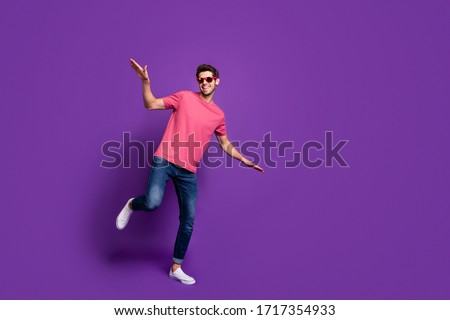 Full size photo of cheerful cool guy night club music lover dance disco floor enjoy hip hop rock concert free time wear style stylish outfit footwear isolated bright color background