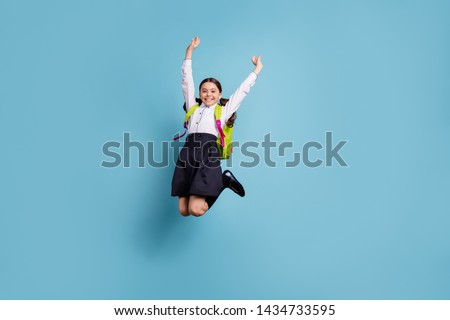 Full size photo of crazy school lady jump high classroom friends 1 september wear white shirt skirt suit isolated blue background