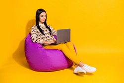 Full size photo of young attractive lovely happy smiling girl sit armchair working in laptop isolated on yellow color background