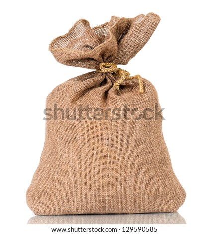 Full small sack, isolated on white background
