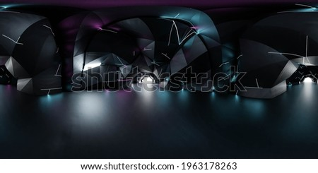 full 360 spherical panorama view of futuristic sci-fi environment with neon lights 3d render illustration hdr hdri vr design Сток-фото ©