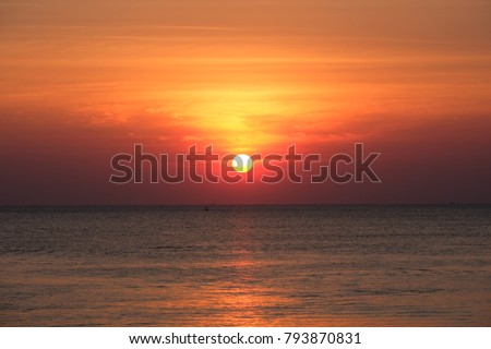 Full sun with sunset sky, sunset today and sunset tonight, sunset saturday in the Chaolao Beach Chanthaburi Thailand. #793870831