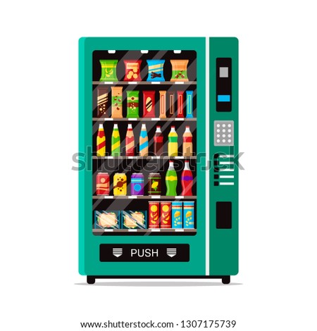 Full vending machine with fast food snacks and drinks isolated on white. Automat vendor machine front view automatic seller. Snack dispenser flat illustration