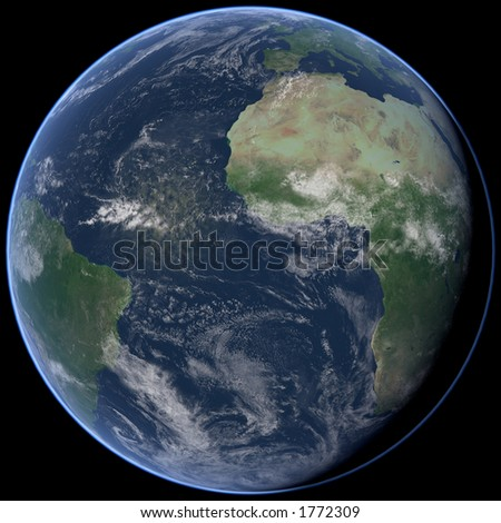 Full View of the Earth, Atlantic side. A view of the earth from outer space