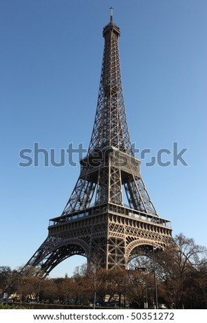Findpicture  Eiffel Tower on Full View Of The Eiffel Tower In Paris With Deep Blue Sky Stock Photo