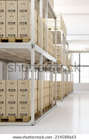 Full warehouse interior with many boxes in the shelves
