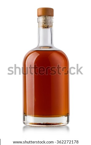 Full whiskey bottle isolated on white background with clipping path #362272178