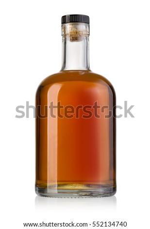 Full whiskey bottle isolated on white background with clipping path #552134740