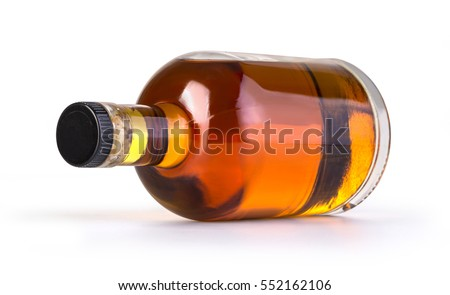 Full whiskey bottle isolated on white background with clipping path #552162106