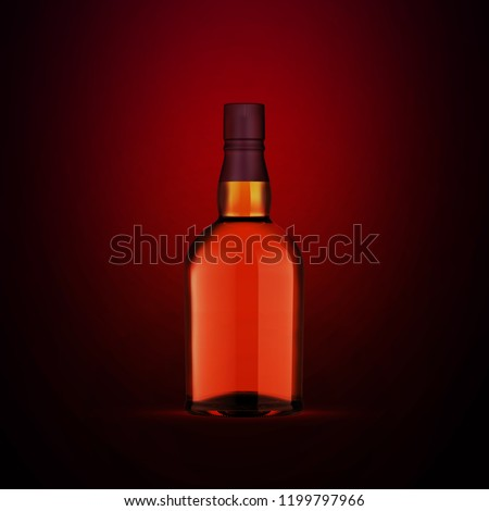 Full whiskey bottle on dark red background. Product packaging brand design. Mock up drink with place for you lable and text. Old and tasty scotch whisky against lit background. #1199797966