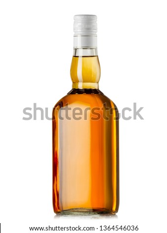 Full whiskey bottle with white cap #1364546036