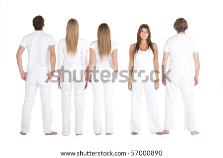 Fullbody group of people wearing white clothes - isolated