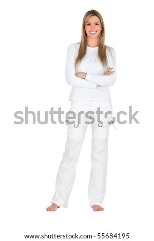 Fullbody woman standing wearing white clothes - isolated