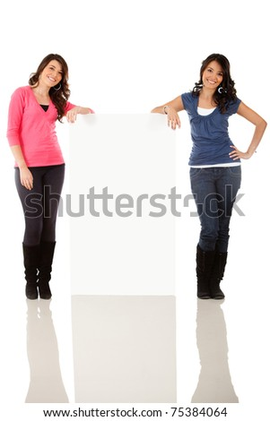 Fullbody women with a banner ad - isolated over a white background