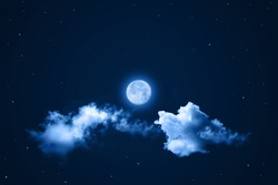 Fullmoon with white clouds and stars in night light filtered in blue tone