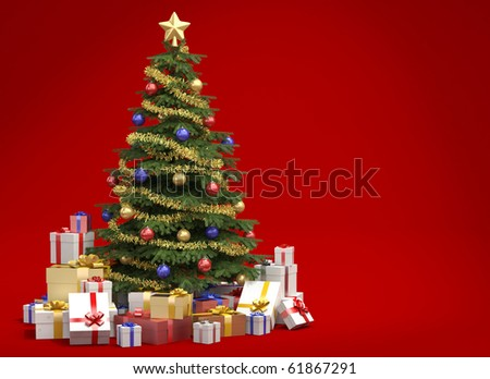 Fully decorated christmas tree with many presents isolated on red background with copy space on the right