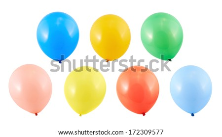 Fully inflated air balloon isolated over white background, set of seven different colors