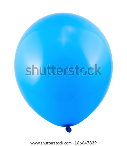Fully inflated blue air balloon isolated over white background