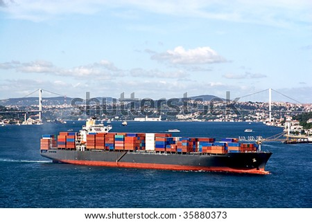 Fully loaded container ship moving through Bosprus