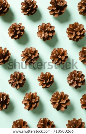 Fully opened pine cones spread in repetitive pattern on mint background #718580266