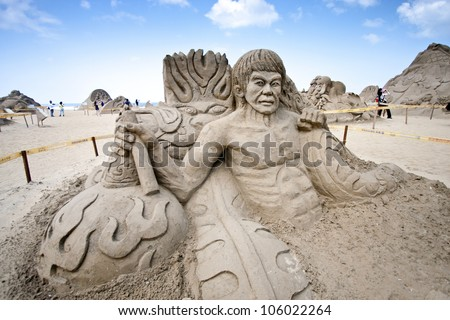 FULONG, TAIWAN-MAY 23,2012:a bruce lee sand sculpture at Fulong beach for celebrating the Sand Sculpture Festival on May 23,2012 in Fulong,Taiwan