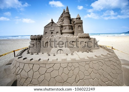 FULONG, TAIWAN-MAY 23,2012:a castle sand sculpture at Fulong beach for celebrating the Sand Sculpture Festival on May 23,2012 in Fulong,Taiwan