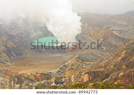 Fumarolic activity at the crater lake at the Poas Volcano in the Cordillera Central range in Costa Rica