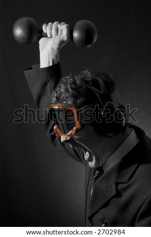 Fuming white-collar worker. Black&white.