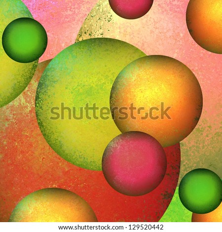 fun abstract background geometric circles layered in colorful bright background shape design layout, green pink background, gold red accent colors, modern art background painted canvas composition