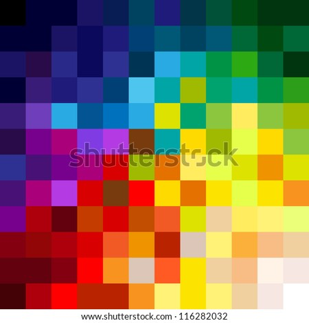 Fun and very colorful series of squares or pixels in all the colors of the spectrum, from light to dark.