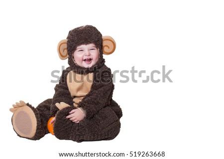 b23107539f56 ... Isolated on White Background #115507222 · Fun Baby and Orange, Joyful Baby  Girl in Clothing Monkey. Happy baby in monkey