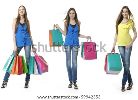 fun beauty three girls out shopping with colored bags, standing full, collage